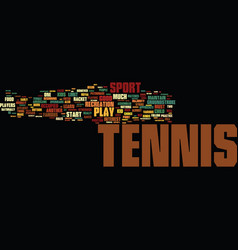 tennis fun for kids text background word cloud vector image vector image