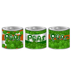 Three cans of peas with different logo vector
