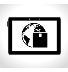Tablet digital delivery worldwide cargo vector