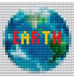 Planet earth outline made from mosaic vector
