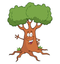 Cartoon tree character waving a greeting vector