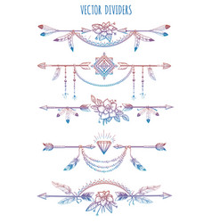 Bohemian dividers with arrows and flowers vector