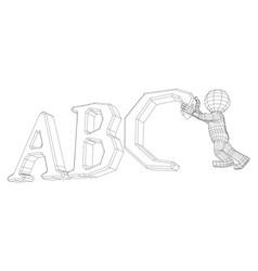 Puppet 3d man with alphabet vector