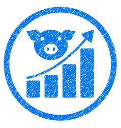 Pig growing chart rounded grainy icon vector