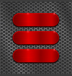 red metal brushed plates on perforated background vector image