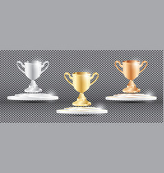 Gold silver and bronze cup on transparent vector