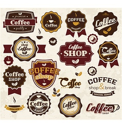 Collection of vintage retro coffee stickers badges vector image