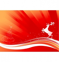 Reindeer and shine christmas tree vector