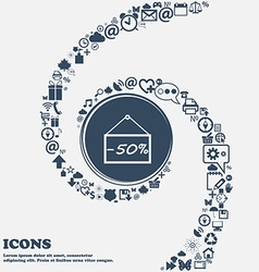 50 discount icon sign in the center Around the vector image vector image