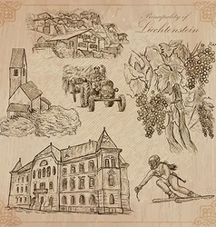 Travel liechtenstein - an hand drawn pack vector