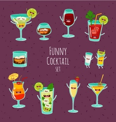Funny coctail set vector