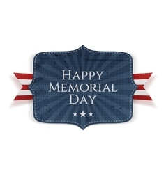 Happy memorial day national sign with ribbon vector