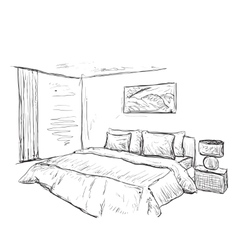 Bedroom doodles interior sketch vector