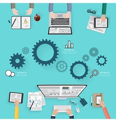 Modern creative office workspace infographic vector