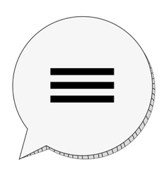 Round conversation bubble with three lines vector