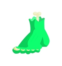 Zombie green monster foot icon in cartoon style vector