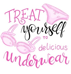 Hand lettering quote - treat yourself to delicious vector