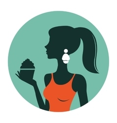 An of beautiful woman holding cupcake vector image vector image