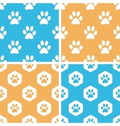 Animal paw pattern set colored vector