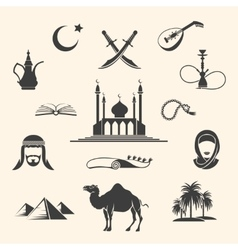Arabian icons set vector