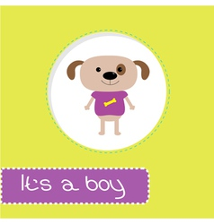 Baby shower card with dog its a boy vector