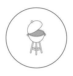 barbecue icon in outline style isolated on white vector image vector image