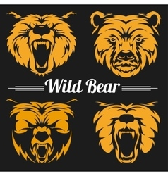 Bear faces mascot emblem symbols vector