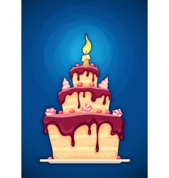Birthday cake with candle vector image vector image