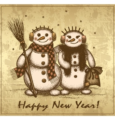 Christmas retro card with two snowmen boy and girl vector image vector image