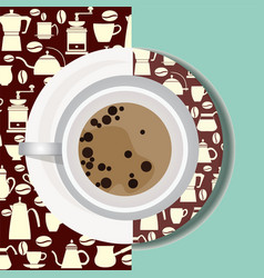 Cup with hot drink flat icon vector