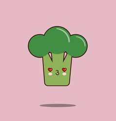 cute vegetable cartoon character broccoli icon vector image vector image
