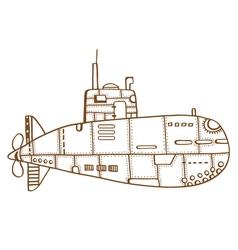Doodle sketch submarine vector