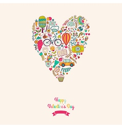 doodles heart valentines day card Kids travel vector image vector image