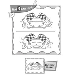 Find 9 differences game black racing vector