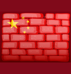 Flag of china painted on brickwall vector