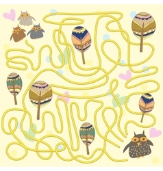 Funny owls labyrinth game for children vector