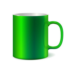 Green ceramic mug for printing corporate logo vector