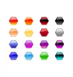 hexagon shape buttons vector image