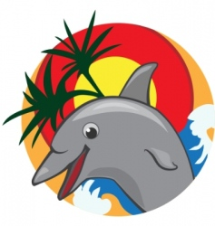 Jumping dolphin color vector illustration vector