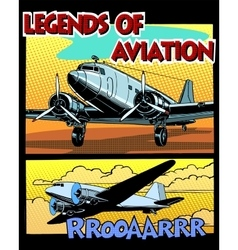 Legends of aviation abstract retro airplane vector