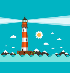 lighthouse on sea flat design vector image