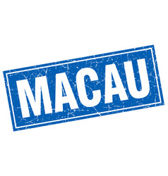 Macau blue square grunge vintage isolated stamp vector