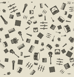 monochrome music gear icons seamless pattern vector image vector image