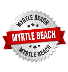 Myrtle beach round silver badge with red ribbon vector