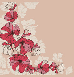 Red flowers on a beige vector