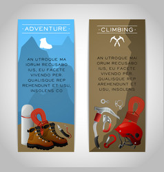 Rock climbing two banners set vector