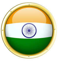 Round icon for india flag vector