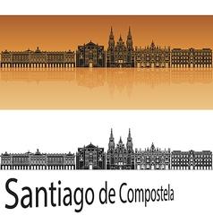 Santiago de Compostela skyline in orange vector image vector image