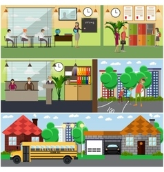 Set of school concept design elements in vector