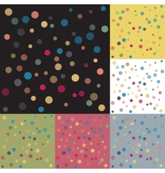 set six backgrounds colored polka dots vector image vector image